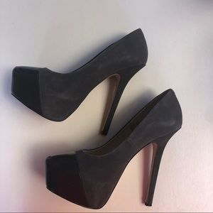 Steve Madden Gray Suede & Patent Leather Pumps 9.5